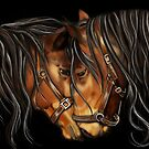 Hearts A Fire - Horse Portrait by Concetta Kilmer