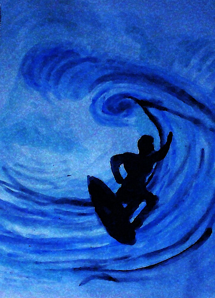 Surfing  #3, watercolor by Anna  Lewis, blind artist