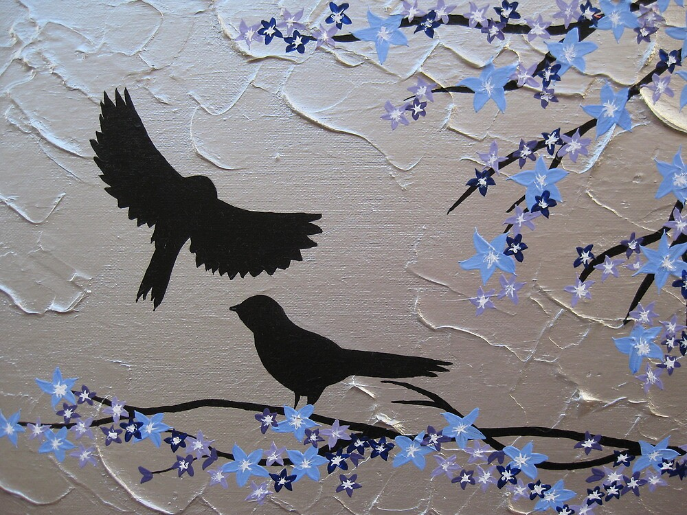 birds with blue, purple and silver blossom- zen feel by cathyjacobs