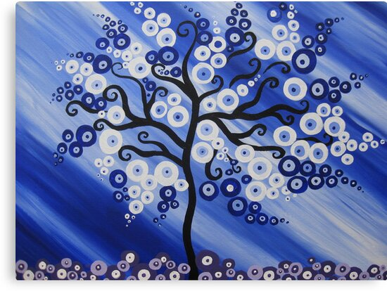 blue tree art with circles by cathyjacobs