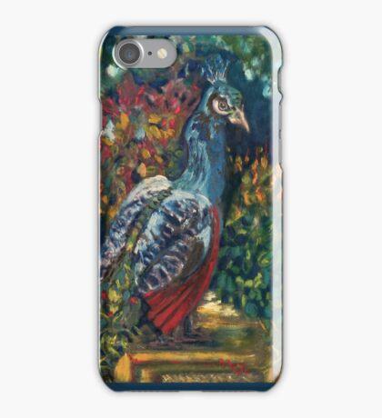 Peacock Garden. FA Moore Signature design, in Marine Blue iPhone Case/Skin