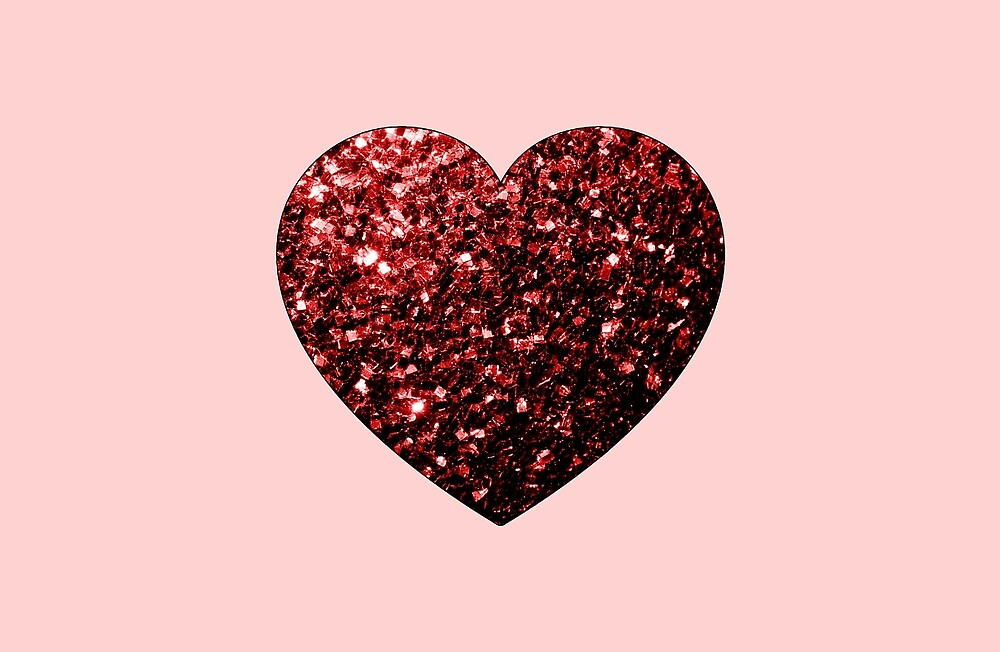 Red Glitter sparkles Heart on light pink by PLdesign