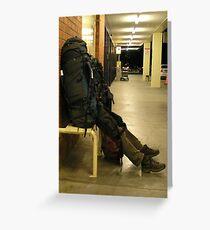 Walking backpack, Launceston, Tasmania Greeting Card