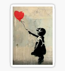 Banksy Red Heart Balloon Sticker