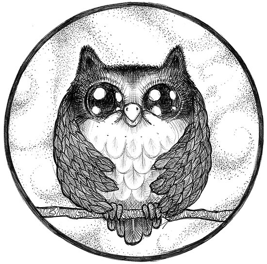 Funny Feathers Owl - Pen art / illustration by sillosophy