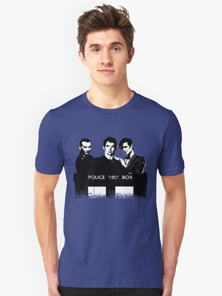 A Multi Doctor Story in Black and White Unisex T-Shirt Front