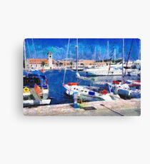 Old Rhodes market view painting Canvas Print