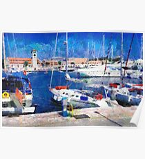 Old Rhodes market view painting Poster