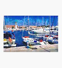 Old Rhodes market view painting Photographic Print