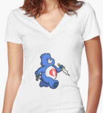 Scare Bear Women's Fitted V-Neck T-Shirt