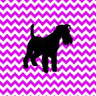 Perfectly Pink Chevron With Schnauzer by pjwuebker