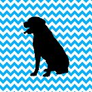 Baby Blue Chevron With Lab Silhouette by pjwuebker
