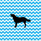 Baby Blue Chevron With Golden Retriever by pjwuebker