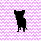 Pink Chevron With Yorkie Silhouette by pjwuebker