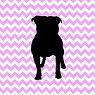Pink Chevron With Pug Silhouette by pjwuebker