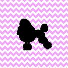 Pink Chevron With Poodle Silhouette by pjwuebker
