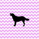 Pink Chevron With Golden Retriever by pjwuebker
