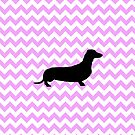 Pink Chevron With Dachshund Silhouette by pjwuebker