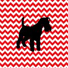 Fire Truck Red Chevron With Schnauzer by pjwuebker