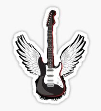 Winged Guitar Sticker