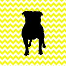 Lemon Yellow Chevron With Pug Silhouette by pjwuebker