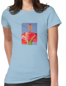 Tropical Red Hibiscus Flower Against Blue Sky T-Shirt