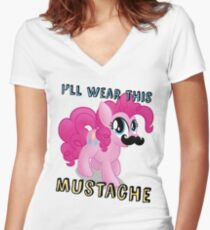 Pinkie Pie Mustache (My Little Pony: Friendship is Magic) Women's Fitted V-Neck T-Shirt