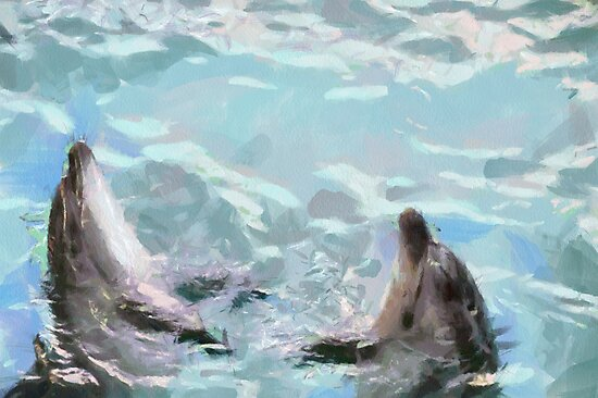 Dolphins at dance painting by Magomed Magomedagaev