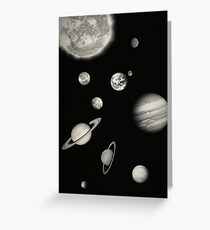 Black and White Solar System Greeting Card