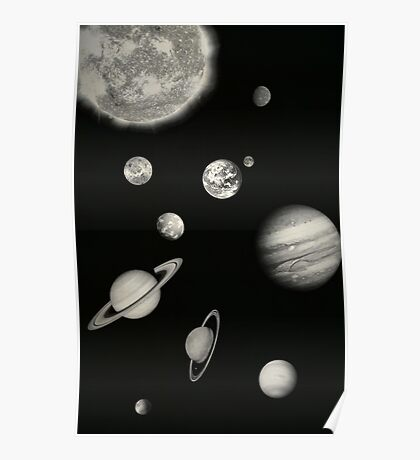 Black and White Solar System Poster
