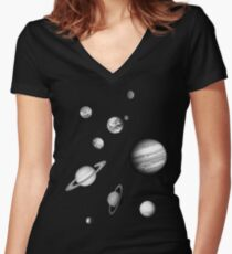 Black and White Solar System Women's Fitted V-Neck T-Shirt