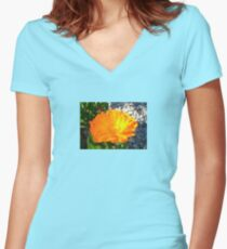 Bright Orange Marigold In Bright Sunlight Women's Fitted V-Neck T-Shirt