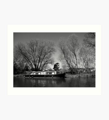 Old Narrow Boat in Black and White Art Print