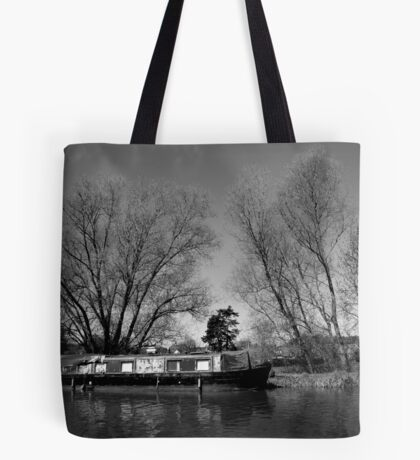 Old Narrow Boat in Black and White Tote Bag