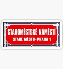 Pegatina Staromestské Námestí, señal de calle de Praga, República Checa.