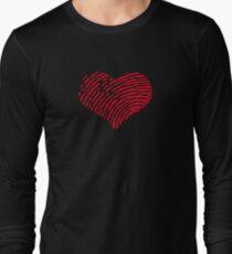 Red Heart Fingerprint Long Sleeve T-Shirt