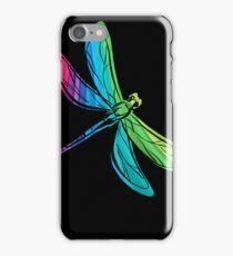 Rainbow Dragonfly on Black iPhone Case/Skin