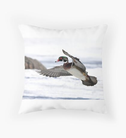 By the frozen shoreline - Wood Duck Throw Pillow