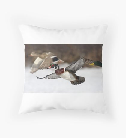 Flying the friendly skies - Wood Duck Throw Pillow