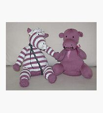 Zebra Foal & Hippo Calf in Pink! Photographic Print