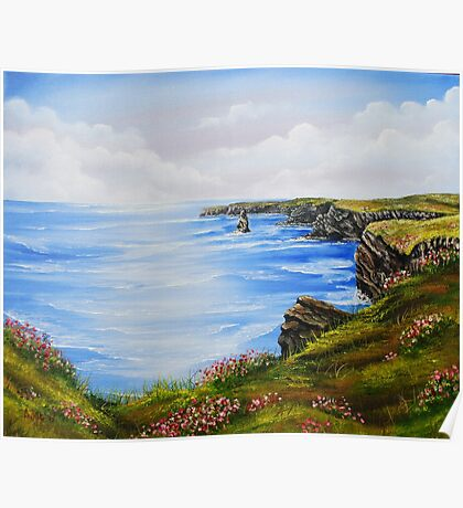 Kilkee Cliffs Oil Painting Poster