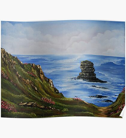 Kilkee Cliffs with Sea Pinks - Oil painting Poster