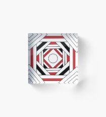 Square modern red-white-black pattern (mandala) Acrylic Block