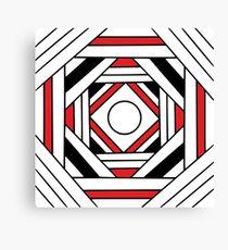 Square modern red-white-black pattern (mandala) Canvas Print