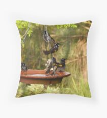 I'ts Bath Time! New Holland Honeyeaters, Mount Pleasant. S.A. Throw Pillow