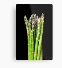 Green asparagus on black Metal Print
