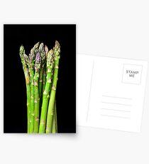 Green asparagus on black Postcards