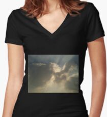 Covered With Clouds Women's Fitted V-Neck T-Shirt
