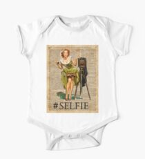 Pin Up Girl Making #selfie Vintage Dictionary Art One Piece - Short Sleeve