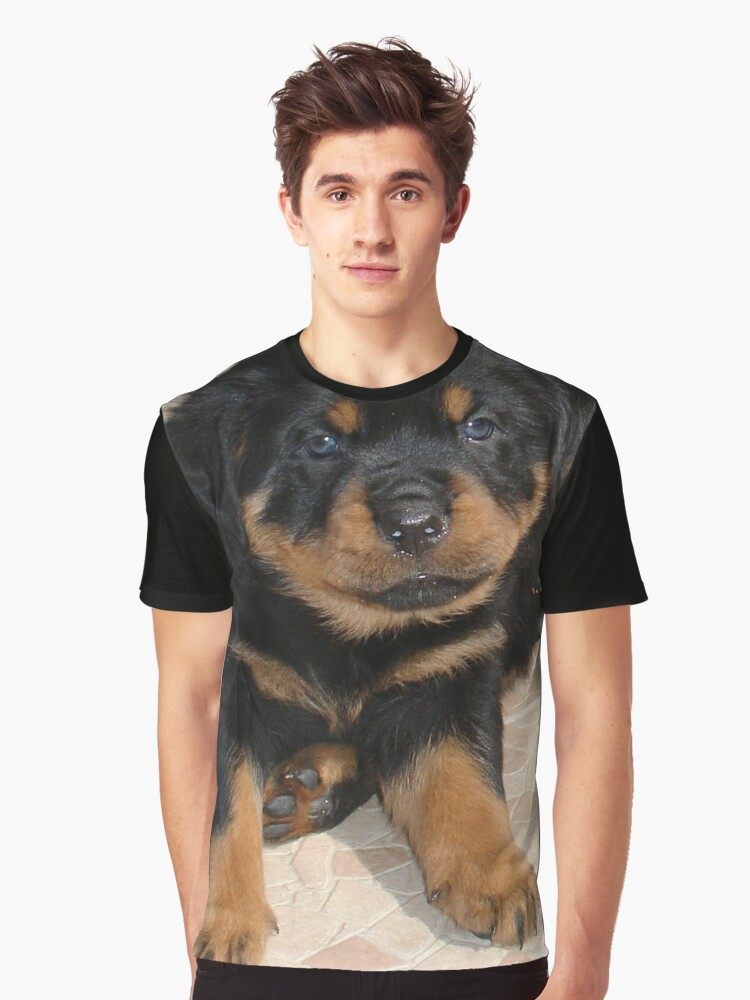 Rottweiler Puppy With Perplexed Facial Expression Graphic T-Shirt Front